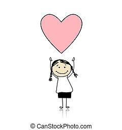 schattig, vasthouden, hart, -, valentine heilige, meisje, dag