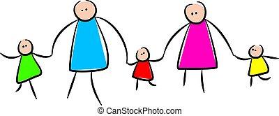 schattig, vasthouden, stok, gezin, handen