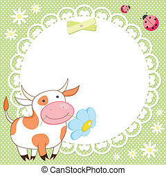 schattig, vector, achtergrond, koe