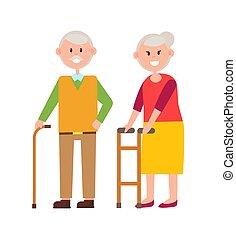 schattig, vector, afbeelding, illustratie, grootouders