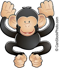 schattig, vector, chimp, illustratie
