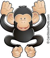 schattig, vector, chimp, illustratie
