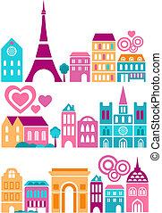schattig, vector, illustratie, van, steden, van, de wereld
