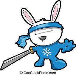 schattig, vector, konijn, ninja, konijntje