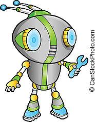 schattig, vector, robot, illustratie