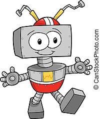 schattig, vector, robot, vrolijke