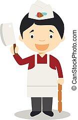 schattig, vector, slager, illustratie, spotprent