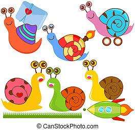 schattig, vector, snails, verzameling