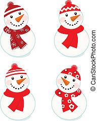 schattig, vector, snowmen, verzameling, vrijstaand, op wit, (, rood, )