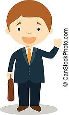 schattig, vector, spotprent, illustratie, zakenman