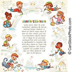 schattig, verf , kinderen, samen, afbeelding