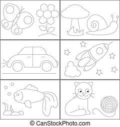 schattig, verf , punten, cirkel, kinderen, afbeeldingen
