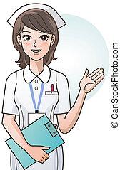 schattig, verpleegkundige, het bezorgen, jonge, spotprent