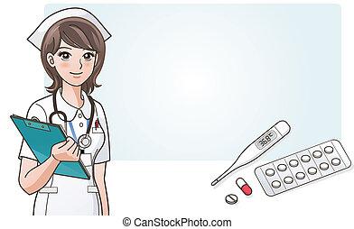 schattig, verpleegkundige, medic, jonge, spotprent