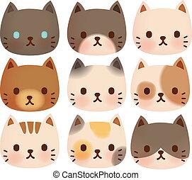 schattig, verzameling, kat