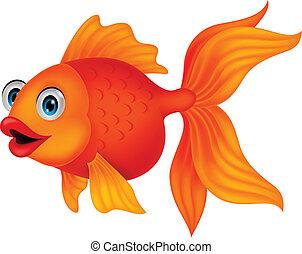 schattig, visje, spotprent, gouden