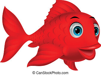 schattig, visje, spotprent, rood
