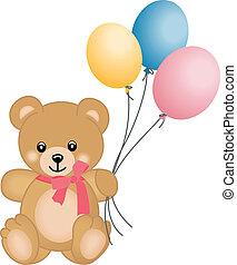schattig, vliegen, ballons, beer, teddy