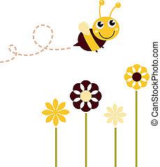 schattig, vliegen, vrijstaand, bij, witte bloemen