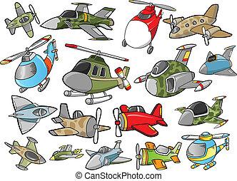 schattig, vliegtuig, vector, ontwerp, set