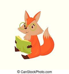 schattig, vloer, karakter, zittende , vos, illustratie, spotprent, vector, smart, achtergrond, witte , het boek van de lezing, rood