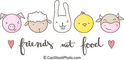 schattig, voedingsmiddelen, vegan, niet, vrienden, design.
