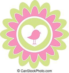 schattig, vogel, hart