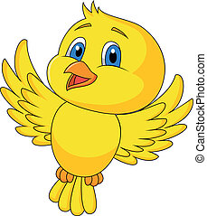 schattig, vogel, spotprent, vliegen