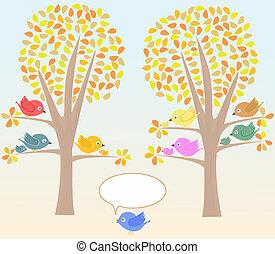 schattig, vogels, begroetende kaart, onder