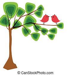 schattig, vogels, begroetenen, kaart, schommel