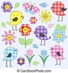 schattig, vogels, en, bloemen