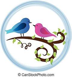 schattig, vogels, liefde, logo
