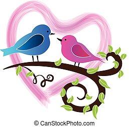 schattig, vogels, liefde