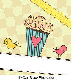 schattig, vogels, muffin