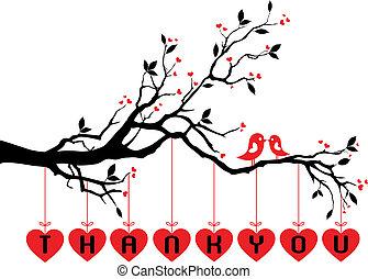 schattig, vogels, op, boompje, met, rood, hartjes