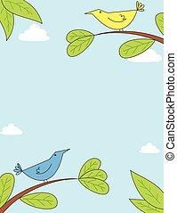 schattig, vogels, op, takken