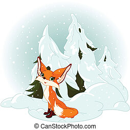 schattig, vos, bos, tegen, besneeuwd