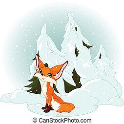 schattig, vos, tegen, een, besneeuwd, bos