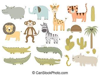 schattig, vrijstaand, safari beesten, verzameling