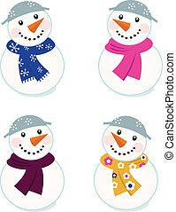 schattig, vrijstaand, verzameling, vector, witte , snowmen