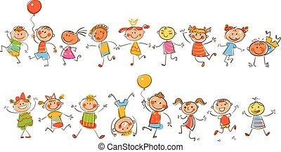 schattig, vrolijke , kids., in, de, stijl, van, kinderen, werkjes