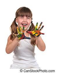 schattig, vrolijke , kind schilderstuk, met, haar, handen