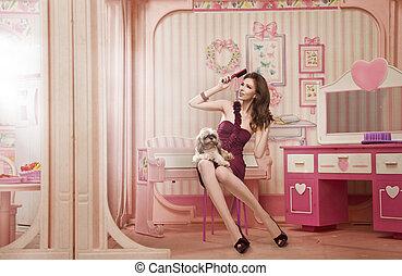 schattig, vrouw, als, een, pop, in, haar, woonkamer