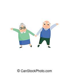 schattig, vrouw dansen, paar, senior, mooi en gracieus, man