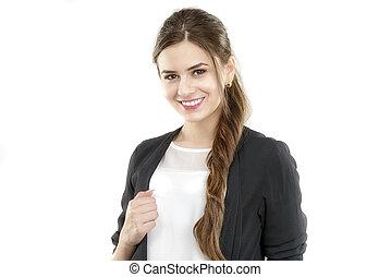 schattig, vrouw, kantoor, zakelijk, jonge, het glimlachen, en, verticaal