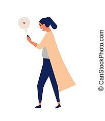 schattig, vrouw meisje, gekke , texting, jonge, communicatie, internet, vrolijke , plat, smartphone, kletsende, online, telefoon., spotprent, surfing, moment, illustration., beweeglijk, het lopen., terwijl, vector, messaging., of