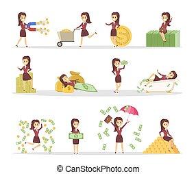 schattig, vrouw, set, zakelijk, geld
