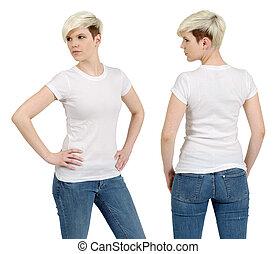 schattig, vrouwlijk, met, leeg, wit hemd