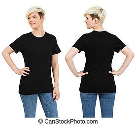 schattig, vrouwlijk, met, leeg, zwart hemd