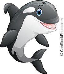 schattig, walvis, moordenaar, spotprent